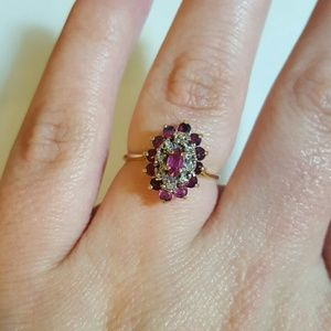 Vintage Natural Ruby Diamond Ring set in 10k gold